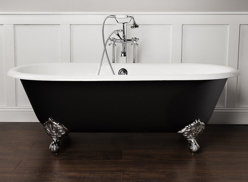 clawfoot tub double ended blac and white