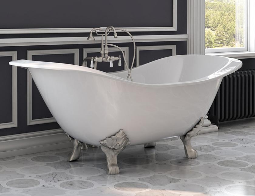 double slipper claw foot bath tub