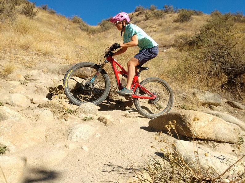 male mountain biking