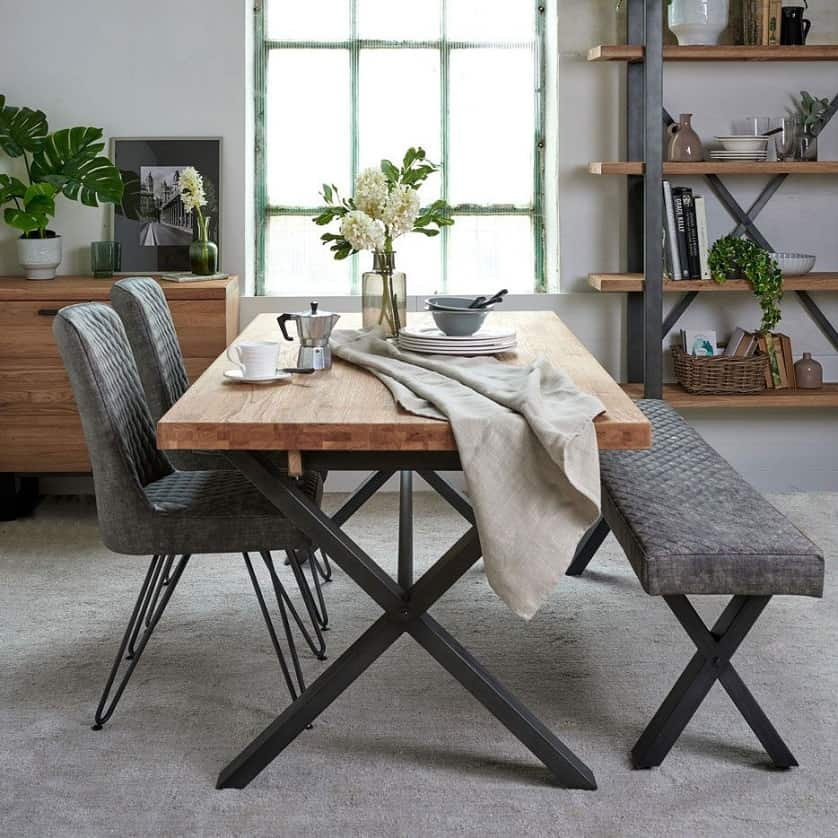 wooden INDUSTRIAL DINING TABLE