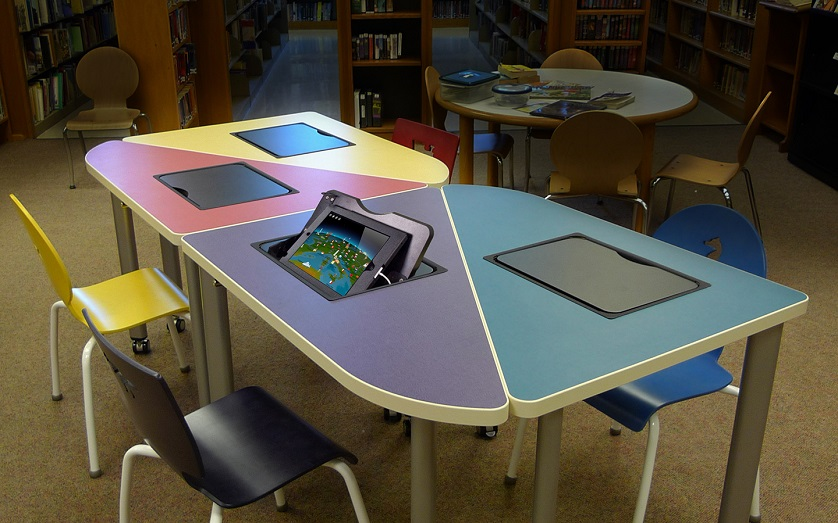 close-up of ergonomic table for classroom