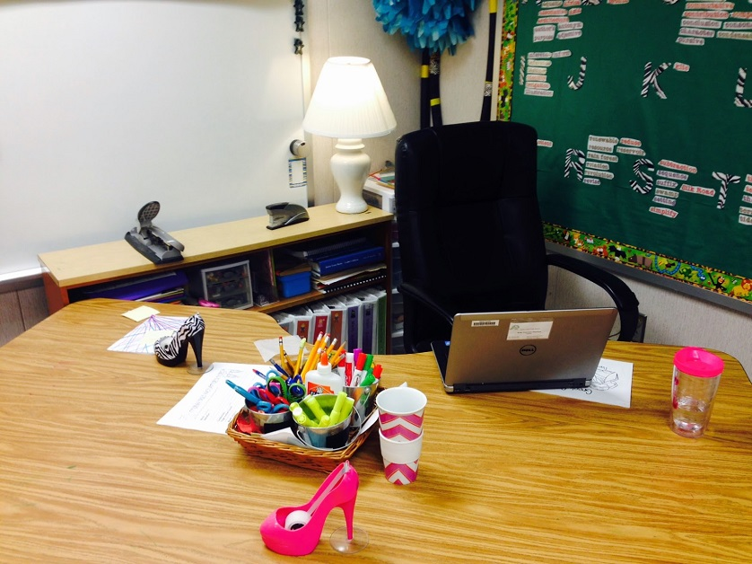 close-up of teacher's desk