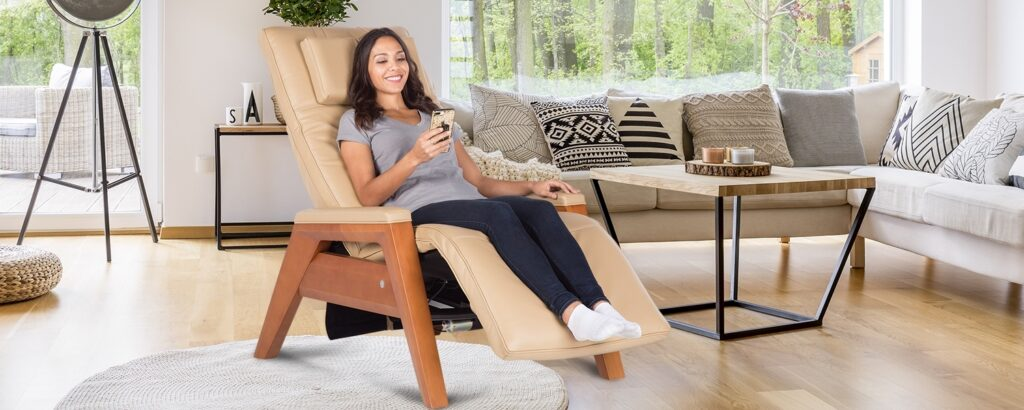 woman sitting on a human touch chair